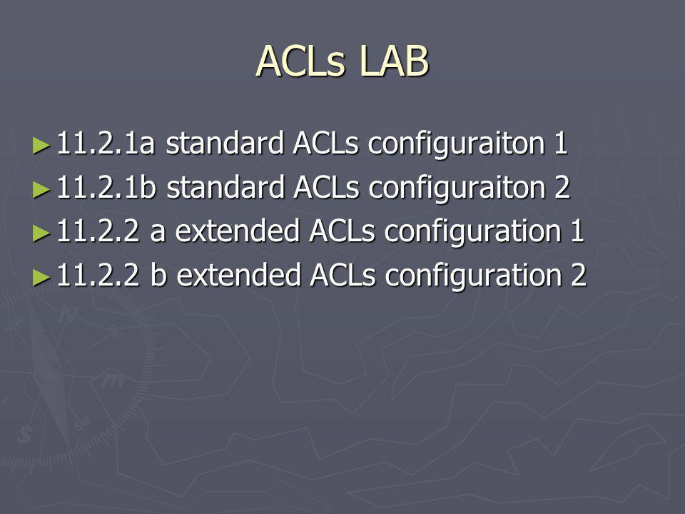 ACLs LAB 11.2.1a standard ACLs configuraiton 1