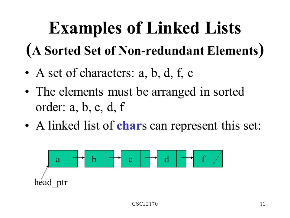 Examples of Linked Lists (A Sorted Set of Non-redundant Elements)