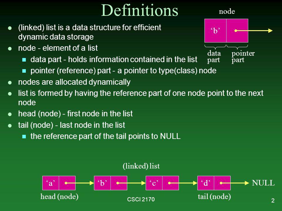 Definitions 'b' 'a' 'b' 'c' 'd' NULL node
