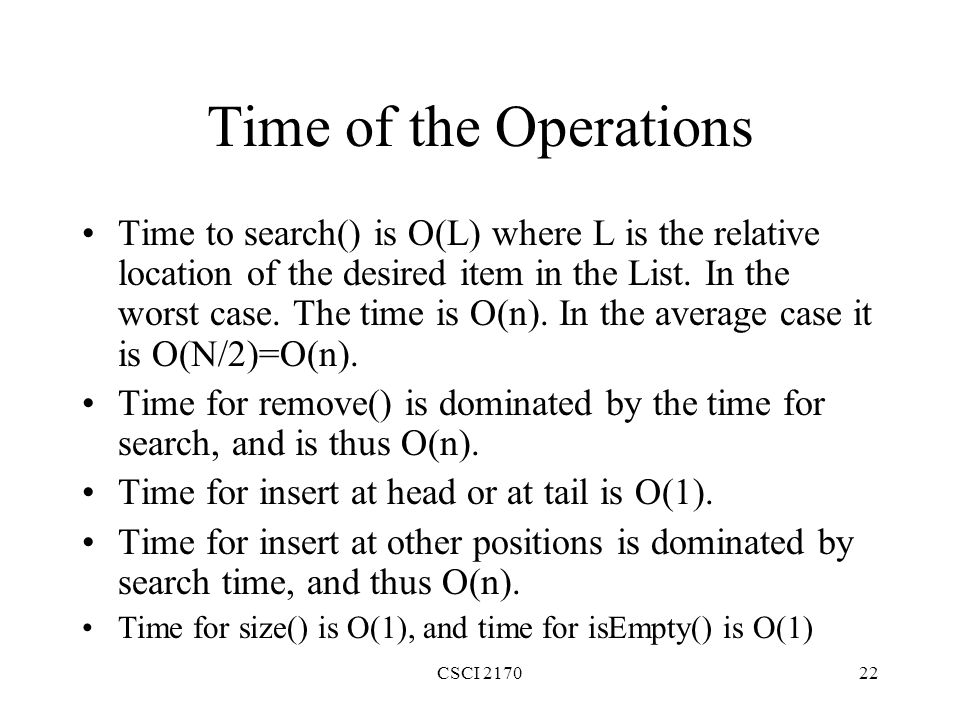 Time of the Operations