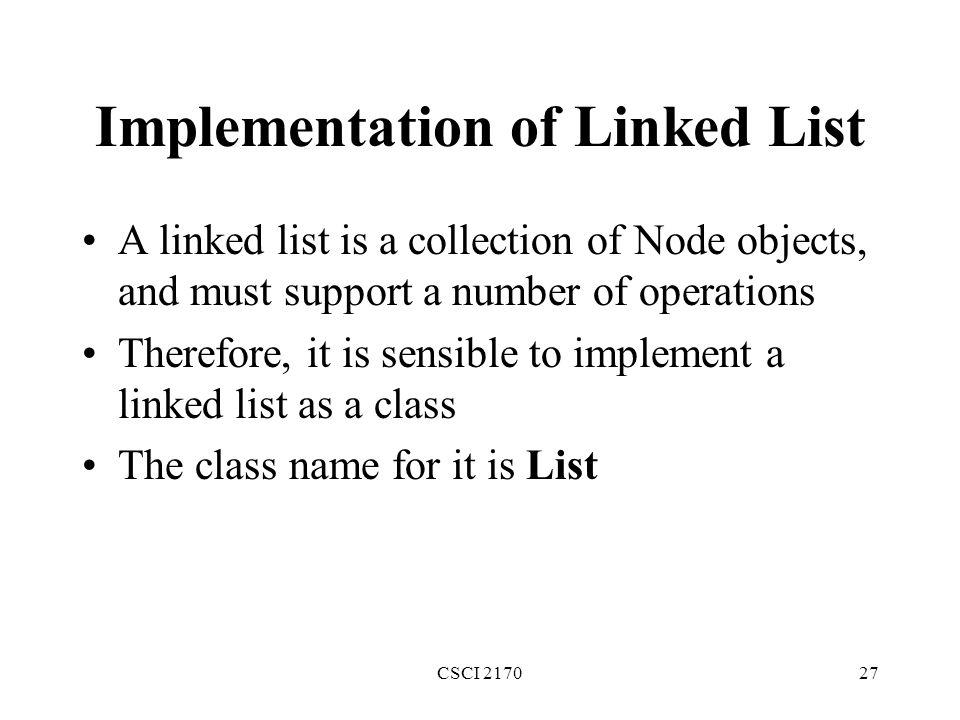 Implementation of Linked List