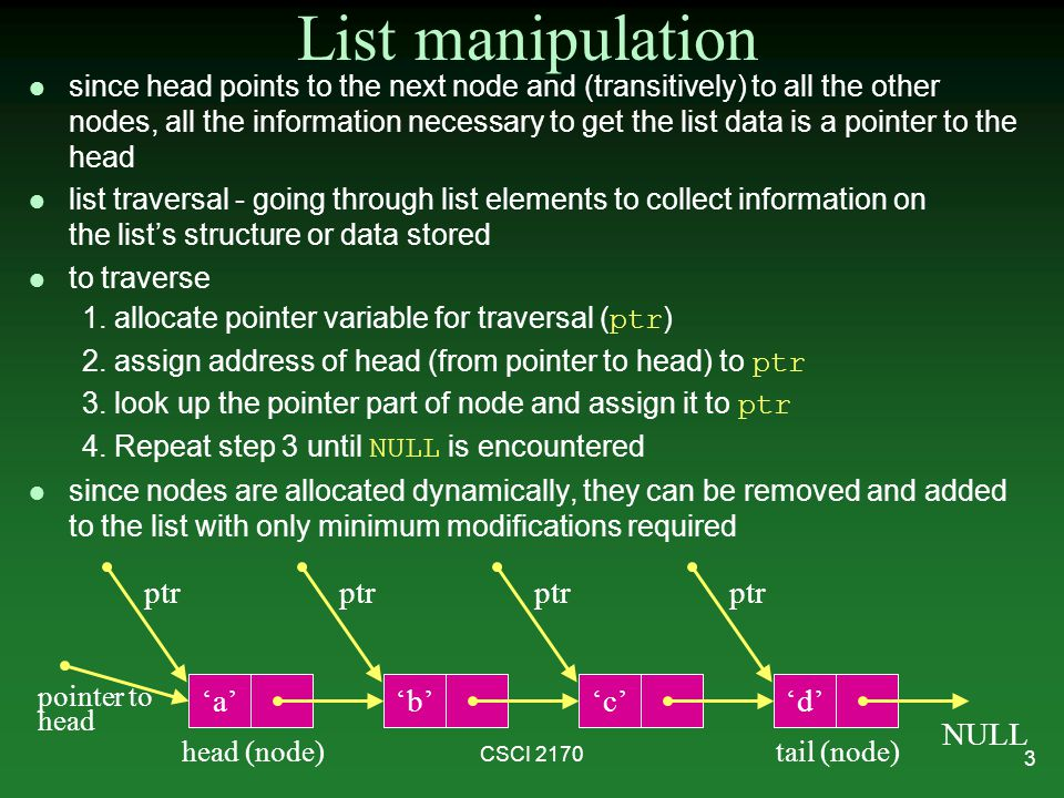 List manipulation ptr ptr ptr ptr 'a' 'b' 'c' 'd' NULL