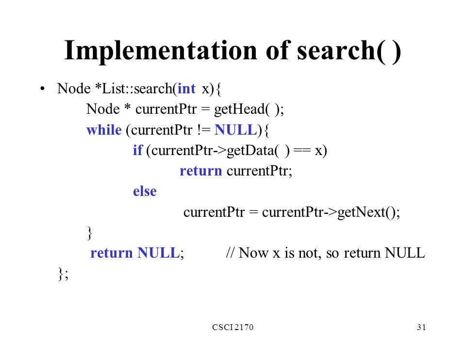 Implementation of search( )