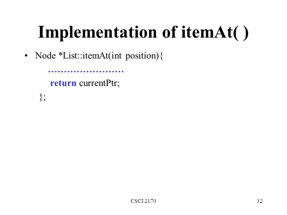 Implementation of itemAt( )