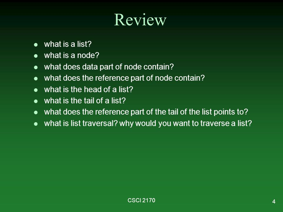 Review what is a list what is a node