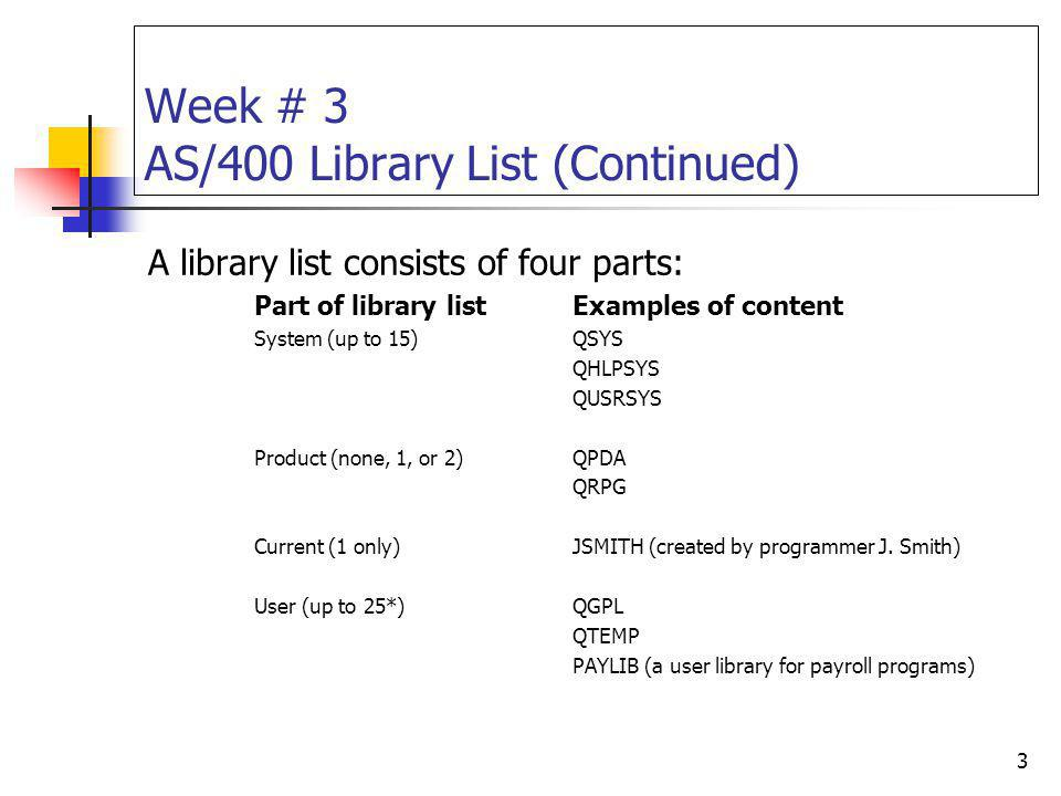 Week # 3 AS/400 Library List (Continued)