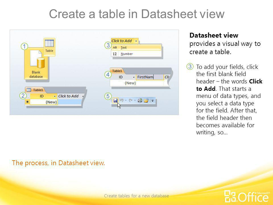 Create a table in Datasheet view