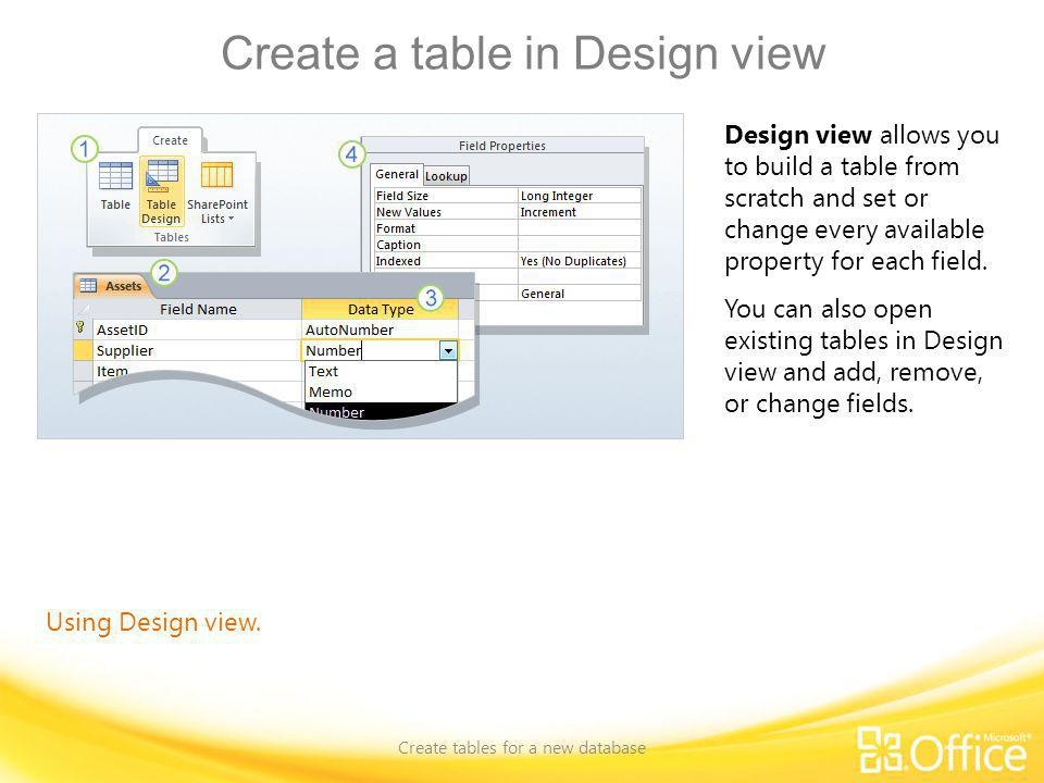 Create a table in Design view