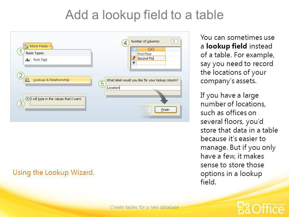 Add a lookup field to a table