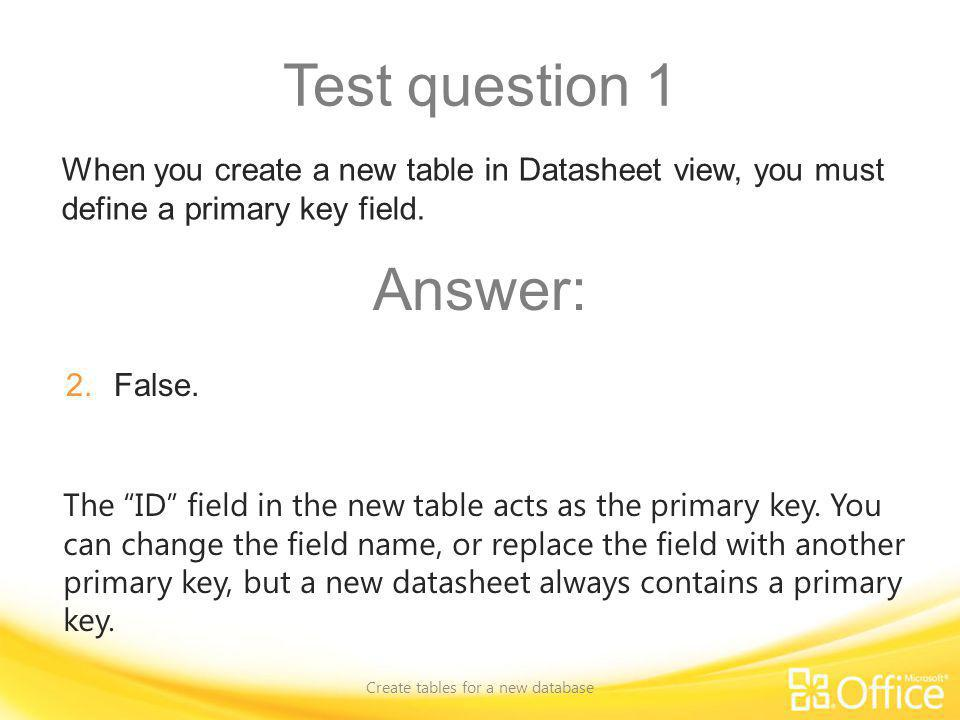 Create tables for a new database