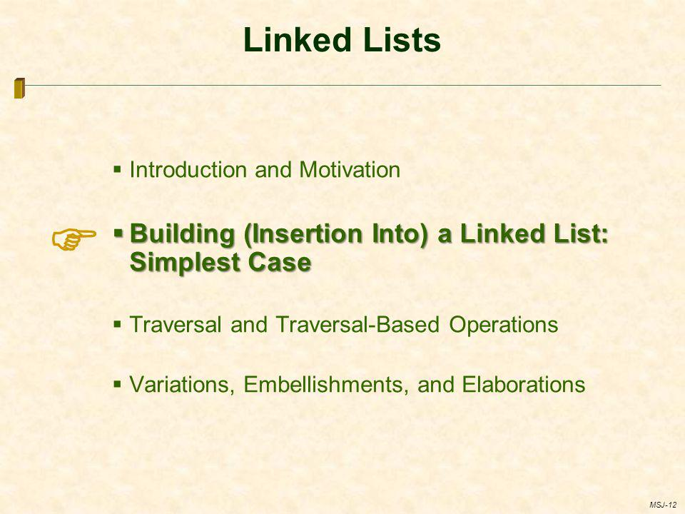  Linked Lists Building (Insertion Into) a Linked List: Simplest Case
