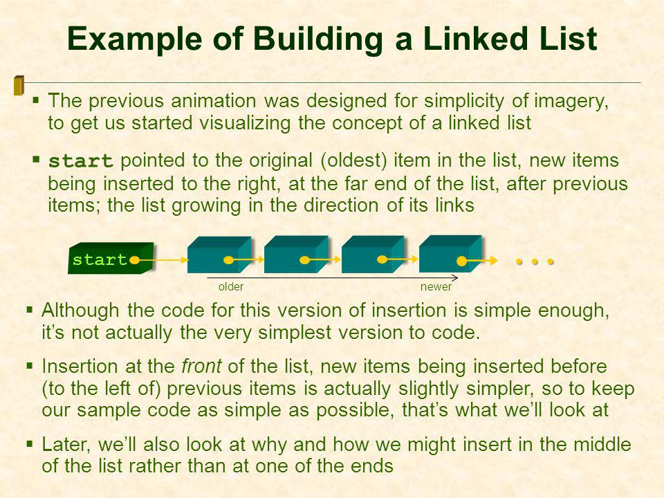 Example of Building a Linked List