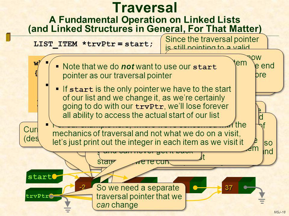 Traversal A Fundamental Operation on Linked Lists (and Linked Structures in General, For That Matter)