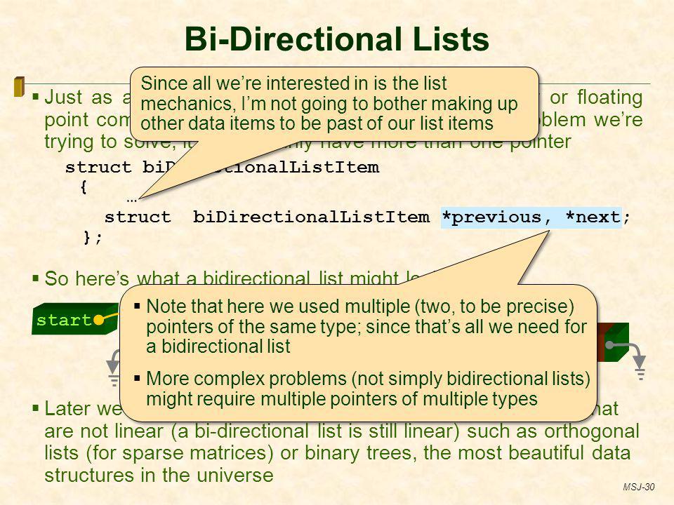 Bi-Directional Lists