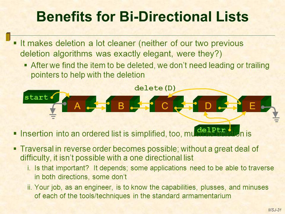 Benefits for Bi-Directional Lists