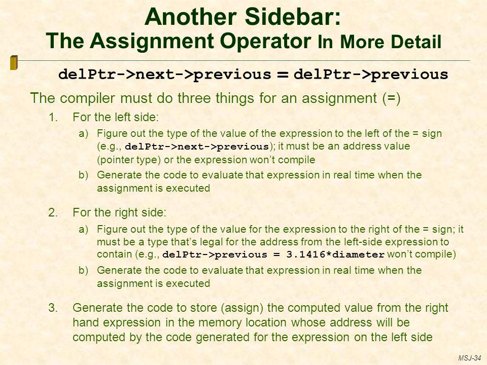 Another Sidebar: The Assignment Operator In More Detail