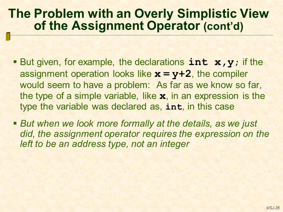 The Problem with an Overly Simplistic View of the Assignment Operator (cont'd)