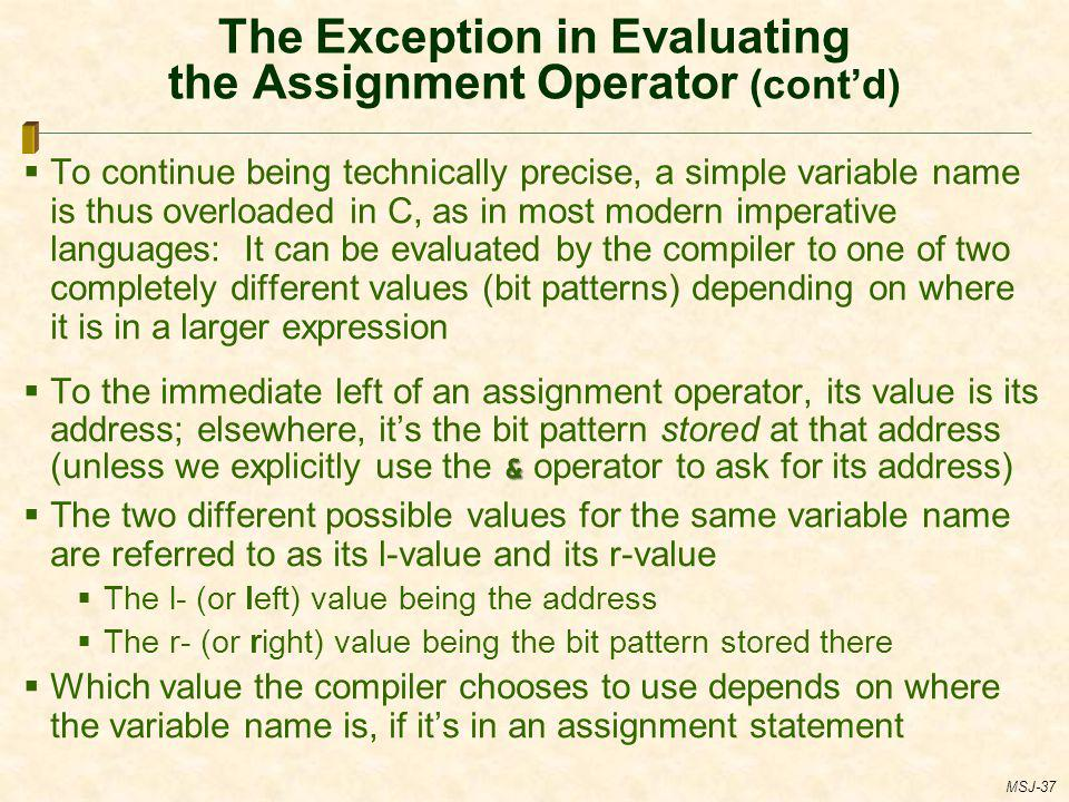 The Exception in Evaluating the Assignment Operator (cont'd)