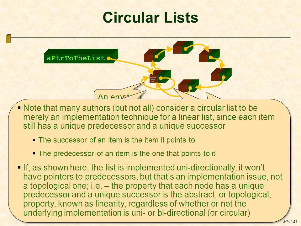 Circular Lists aPtrToTheList. An empty circular list.