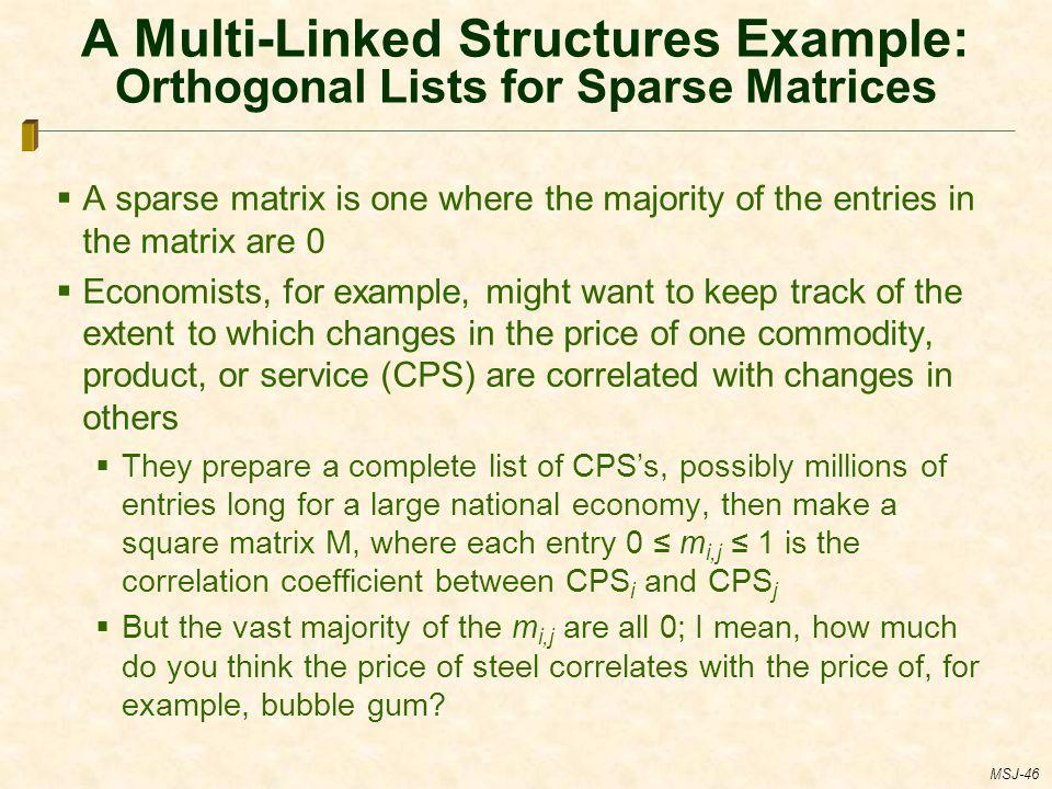 A Multi-Linked Structures Example: Orthogonal Lists for Sparse Matrices