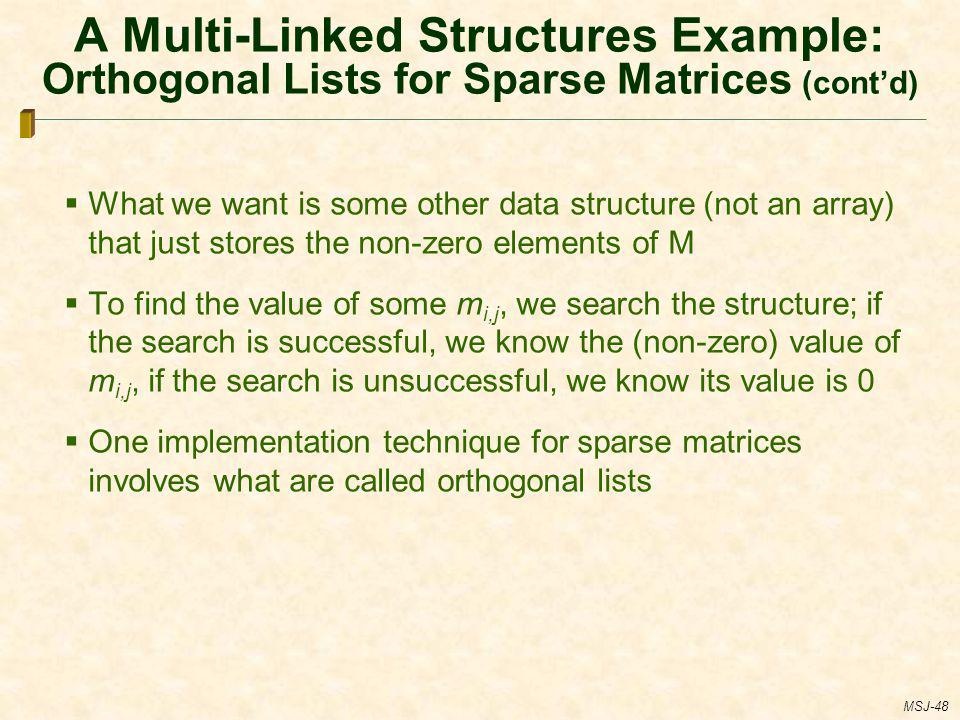 A Multi-Linked Structures Example: Orthogonal Lists for Sparse Matrices (cont'd)