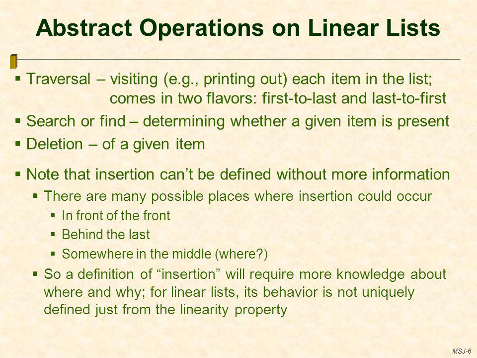 Abstract Operations on Linear Lists