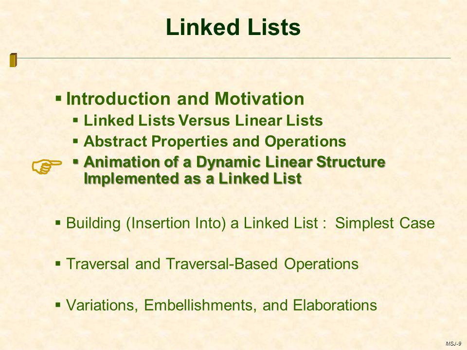  Linked Lists Introduction and Motivation