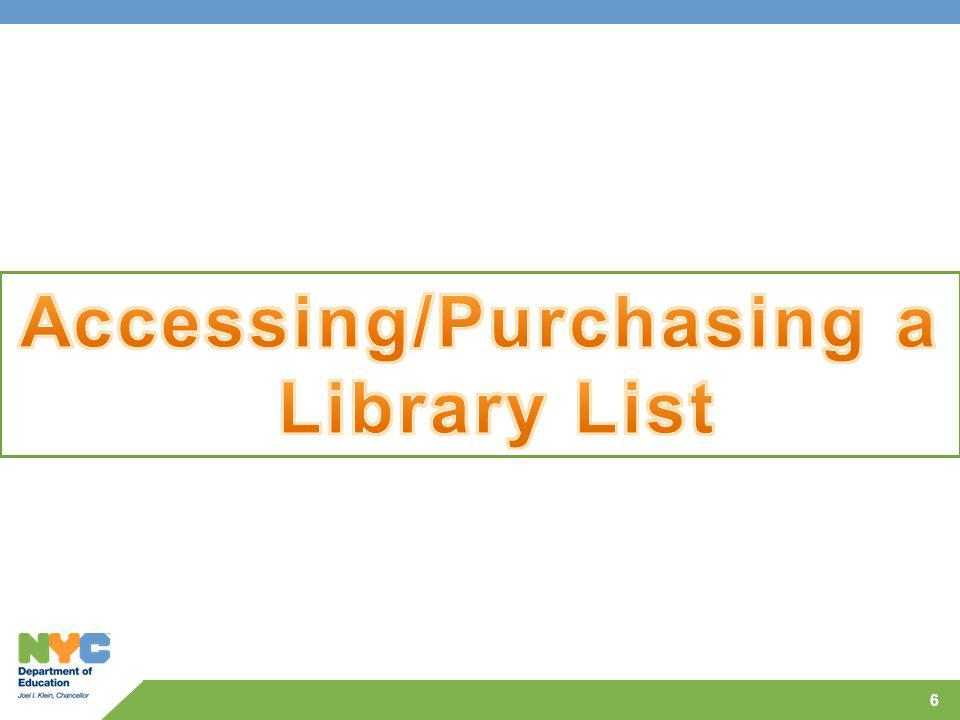 Accessing/Purchasing a Library List