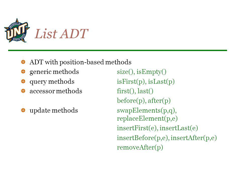 List ADT ADT with position-based methods
