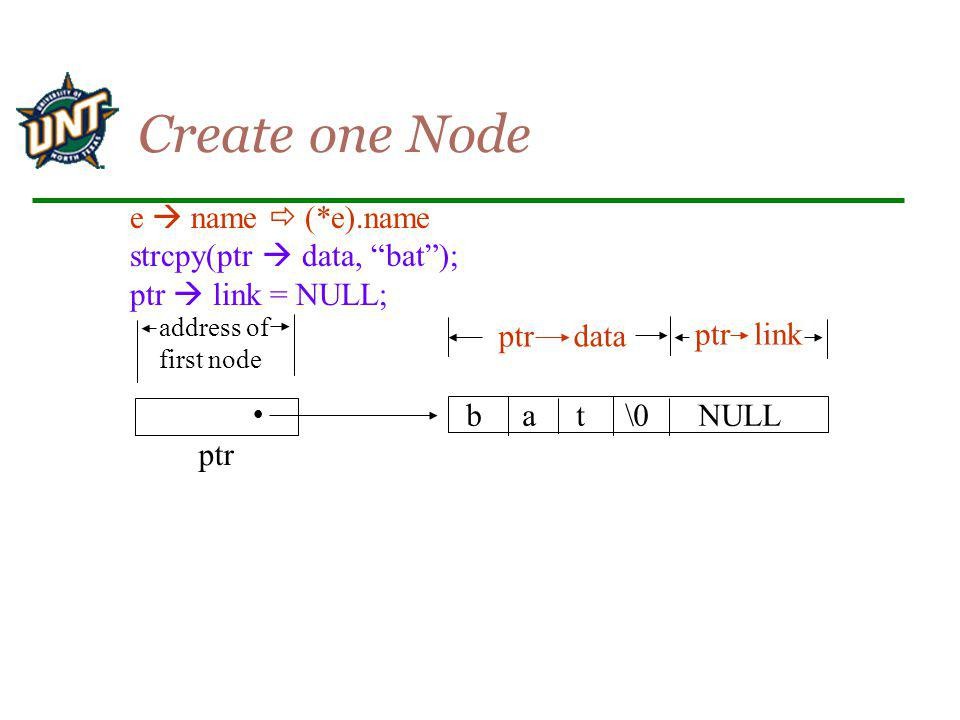 Create one Node e  name  (*e).name strcpy(ptr  data, bat );