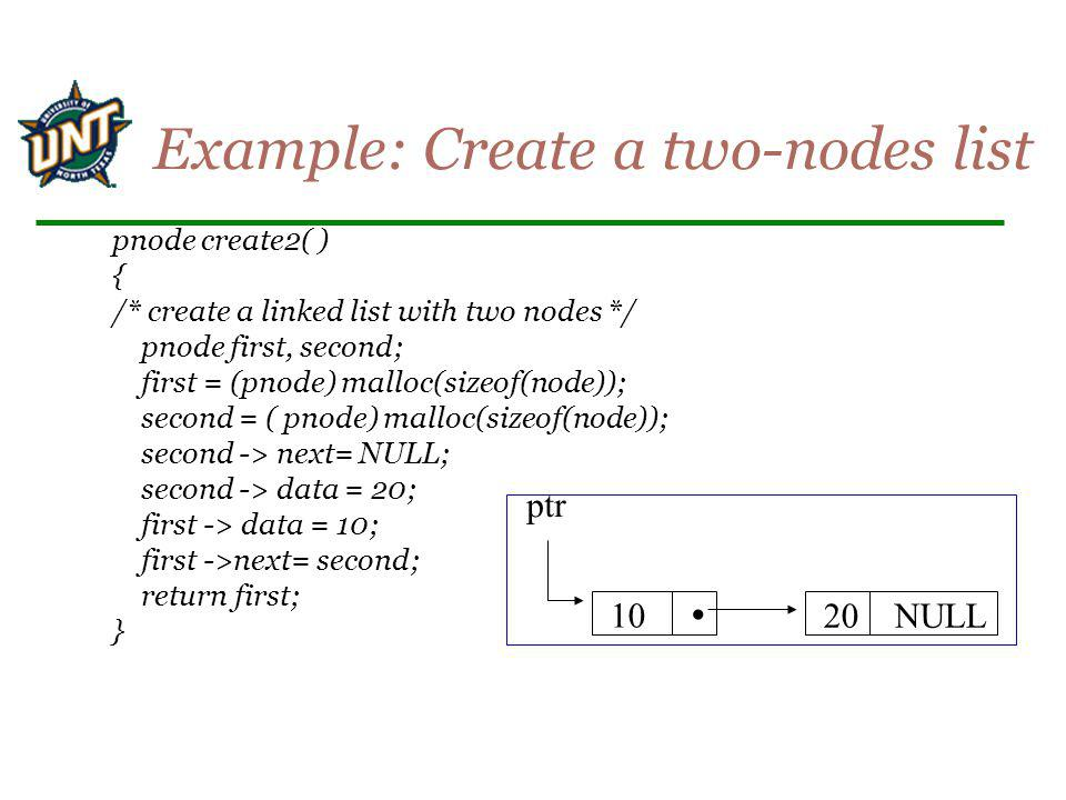 Example: Create a two-nodes list
