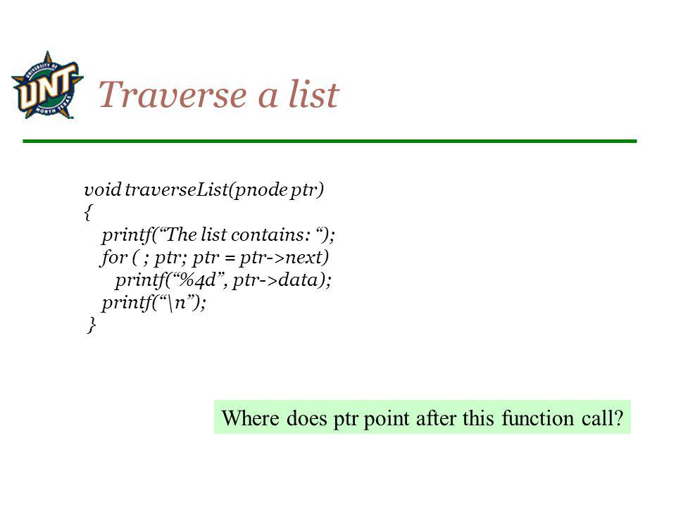 Traverse a list Where does ptr point after this function call
