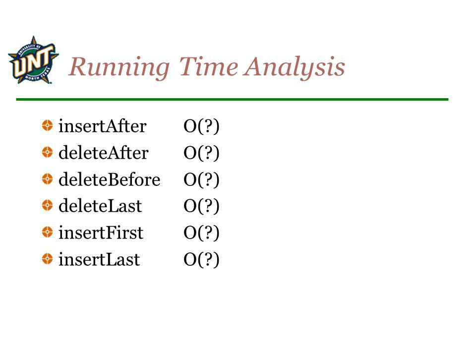 Running Time Analysis insertAfter O( ) deleteAfter O( )