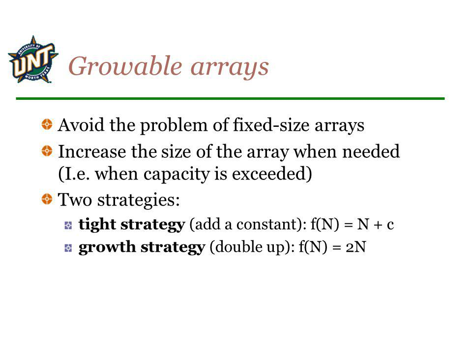 Growable arrays Avoid the problem of fixed-size arrays