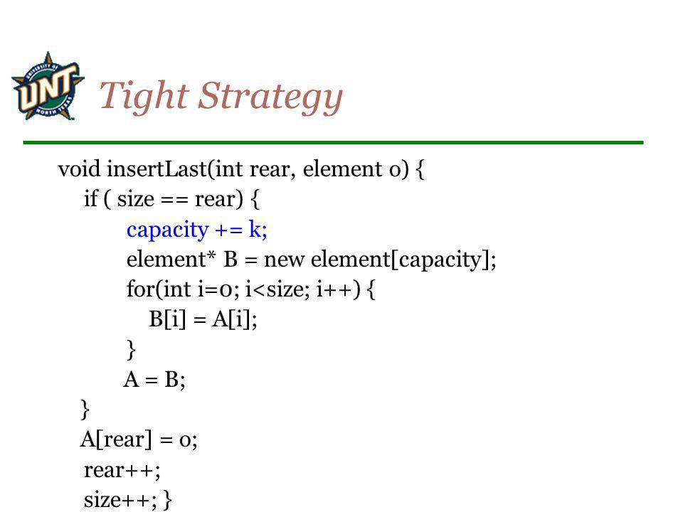 Tight Strategy void insertLast(int rear, element o) {