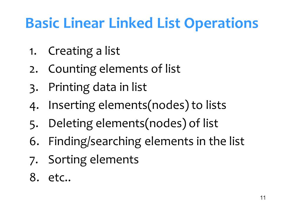 Basic Linear Linked List Operations