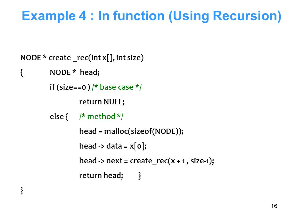 Example 4 : In function (Using Recursion)