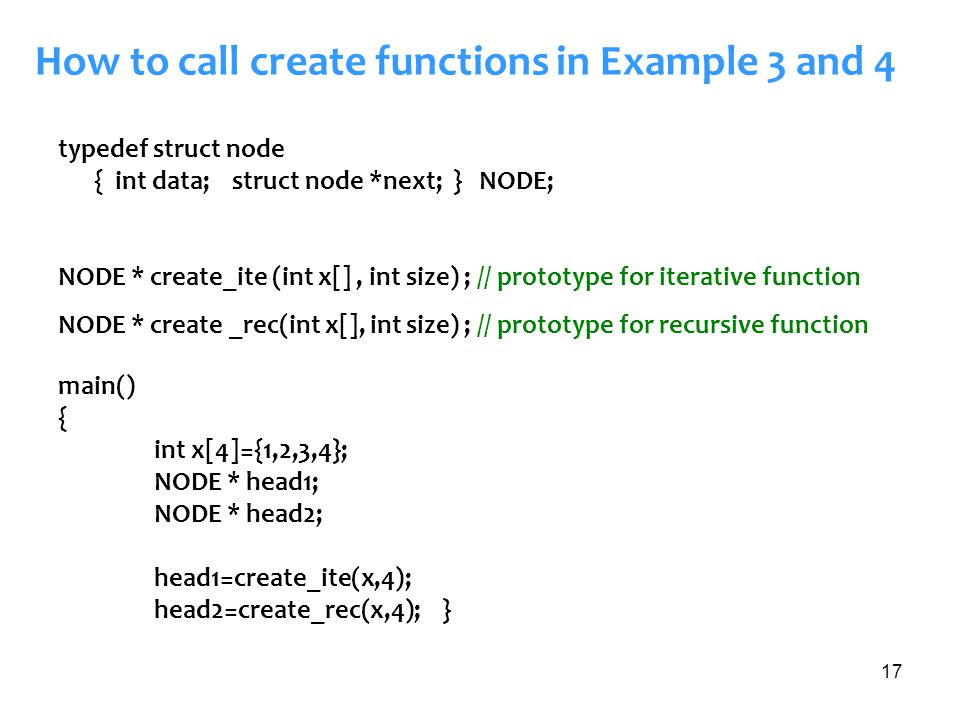 How to call create functions in Example 3 and 4