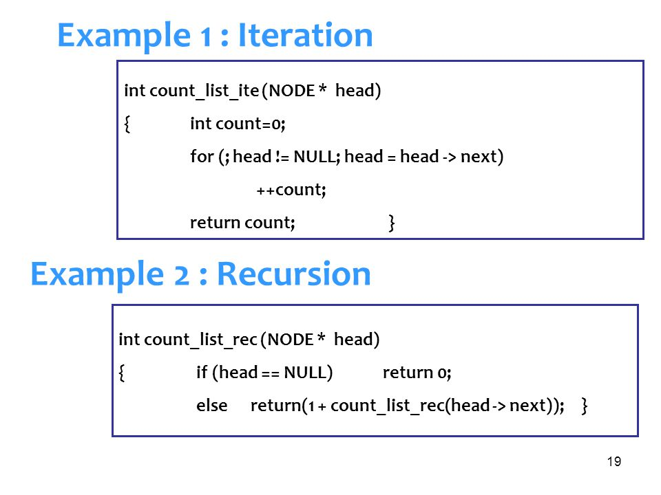 Example 1 : Iteration Example 2 : Recursion
