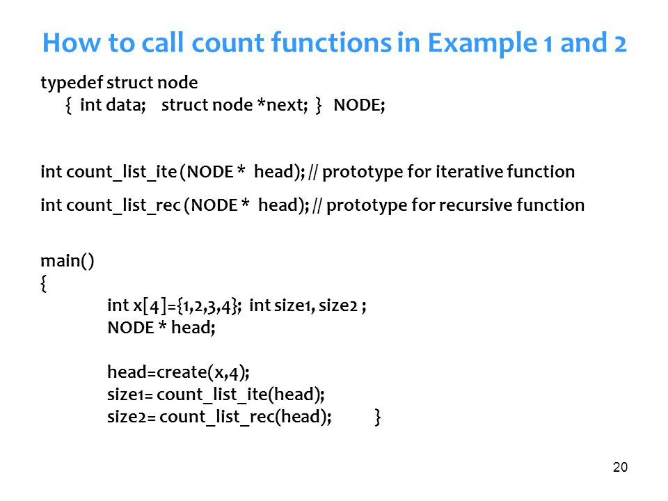How to call count functions in Example 1 and 2