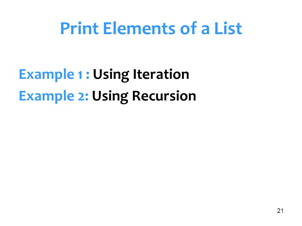 Print Elements of a List