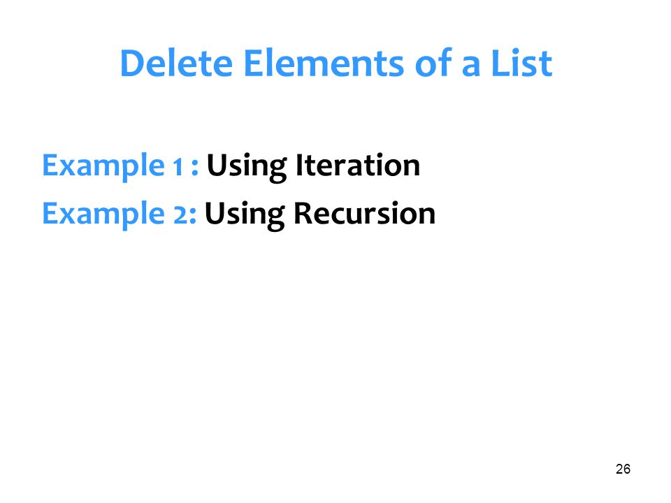 Delete Elements of a List