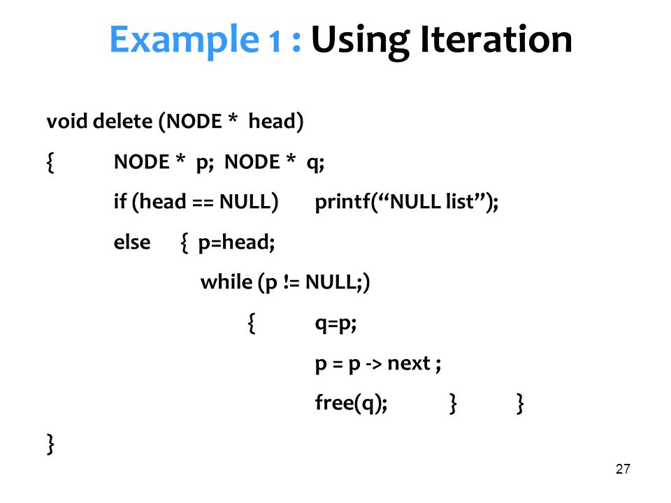 Example 1 : Using Iteration