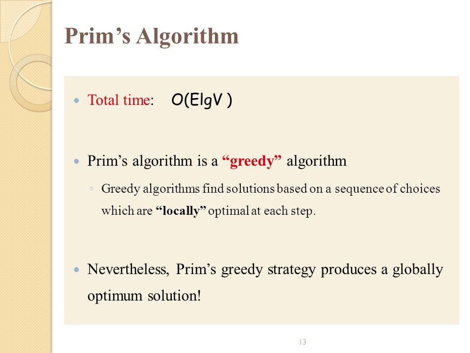 Prim's Algorithm Total time: O(ElgV )