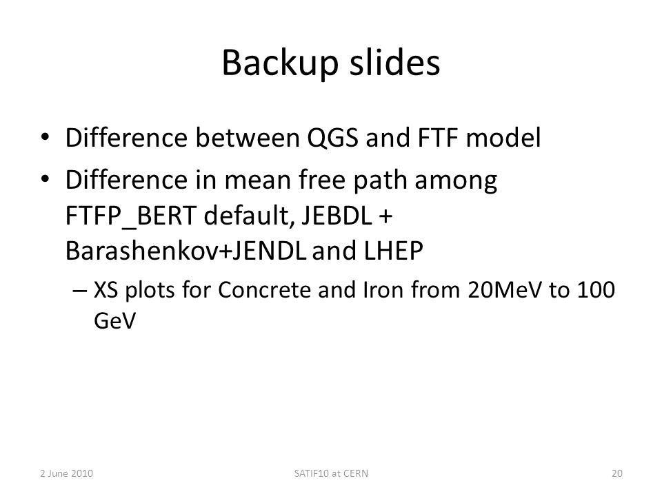 Backup slides Difference between QGS and FTF model