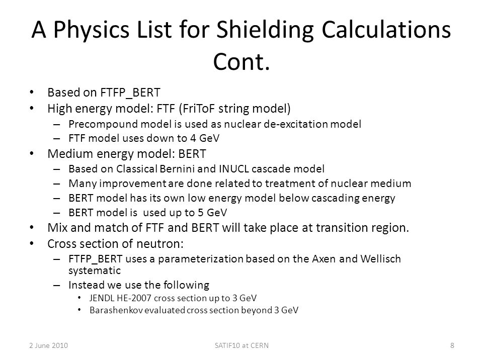 A Physics List for Shielding Calculations Cont.