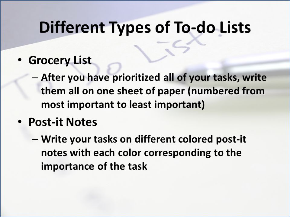 Different Types of To-do Lists