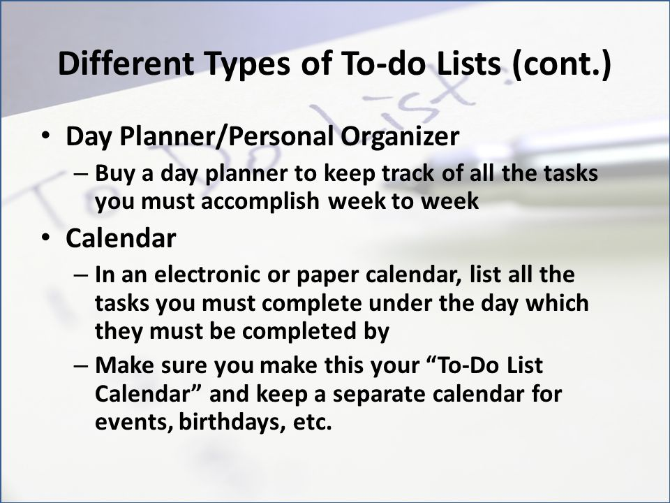 Different Types of To-do Lists (cont.)