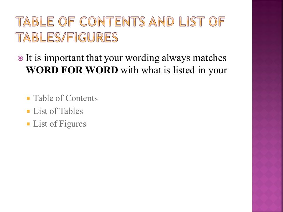 Table of Contents and list of tables/figures