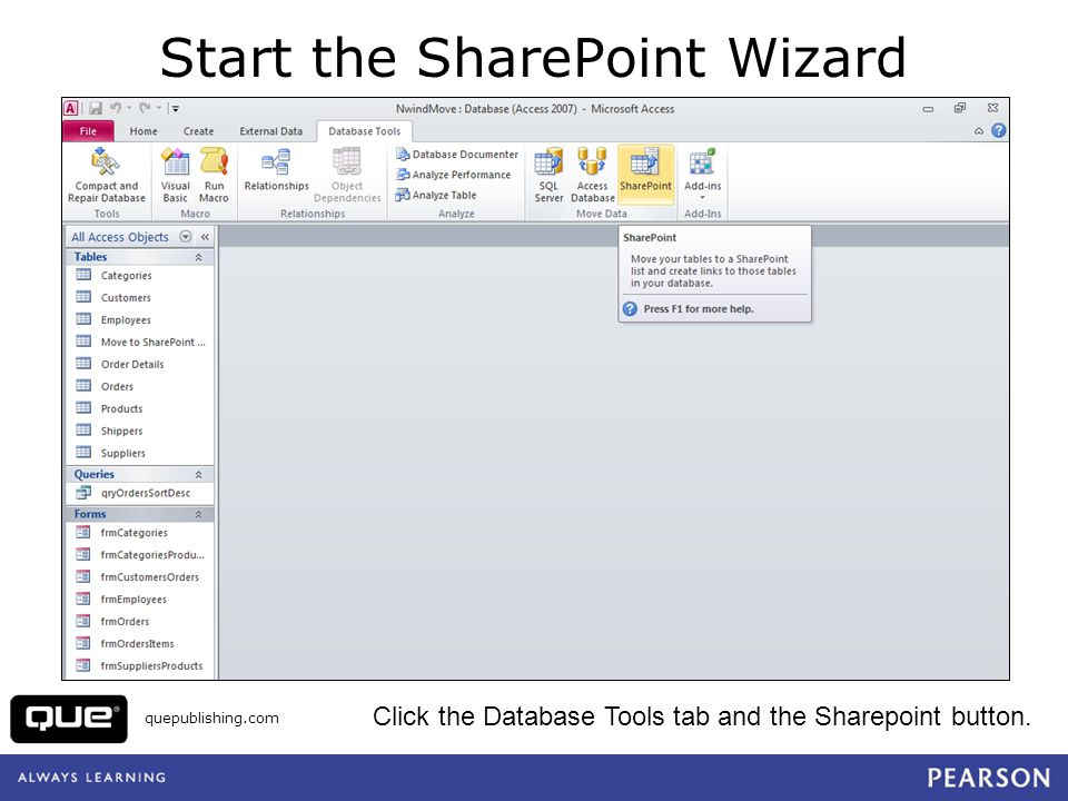 Start the SharePoint Wizard